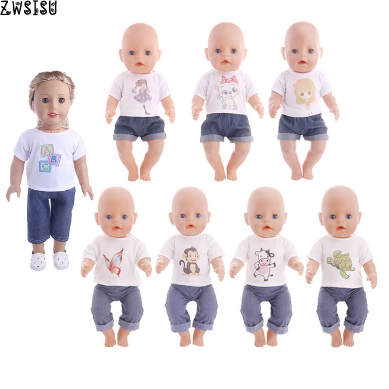 Doll Clothes Cute Animals Patters T-shirt+Pants For 18 Inch American Doll&43 Cm Baby Doll Logan Boy For Our Generation Girl`s