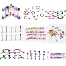 45Pcs/Set Mix Acrylic Stainless Steel Eyebrow Navel Belly Lip Tongue Ring Nose Bar Rings Body Piercing Jewelry Wholesale mix lot wholesales 80pcs stainless steel eyebrow piercing belly button rings naval ear nose rings lip tongue body jewelry gold