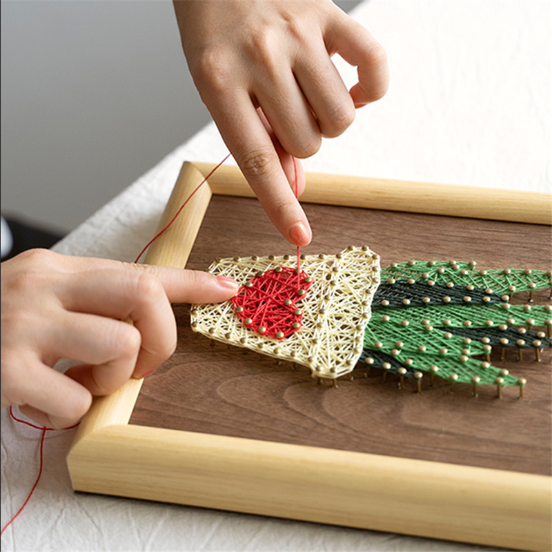 DIY Craft Kits For Adults Handmade Nail Winding Paintings With Frame Wall Home Decoration Accessories Creative Toys Bored Games