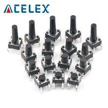 Micro-interrupteur Tactile auto-réinitialisé, 50 pièces, 6x6x4.3mm 5mm 6 7 8 9 10 11 12 13 6x6 4 broches