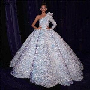 Image 3 - 화이트 섹시 한 어깨 하이 엔드 웨딩 드레스 2020 두바이 스팽글 스파클 럭셔리 신부 가운 HA2290 맞춤 제작