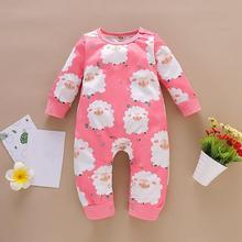 Jumpsuits Homewear Long-Sleeve Toddler Girls Spring Cotton Round-Collar Animals-Plants-Print