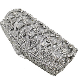 Image 3 - Boutique De FGG Hollow Out Crystal Women Clutches Evening Bags Wedding Party Cocktail Metal Minaudiere Diamond Handbag and Purse