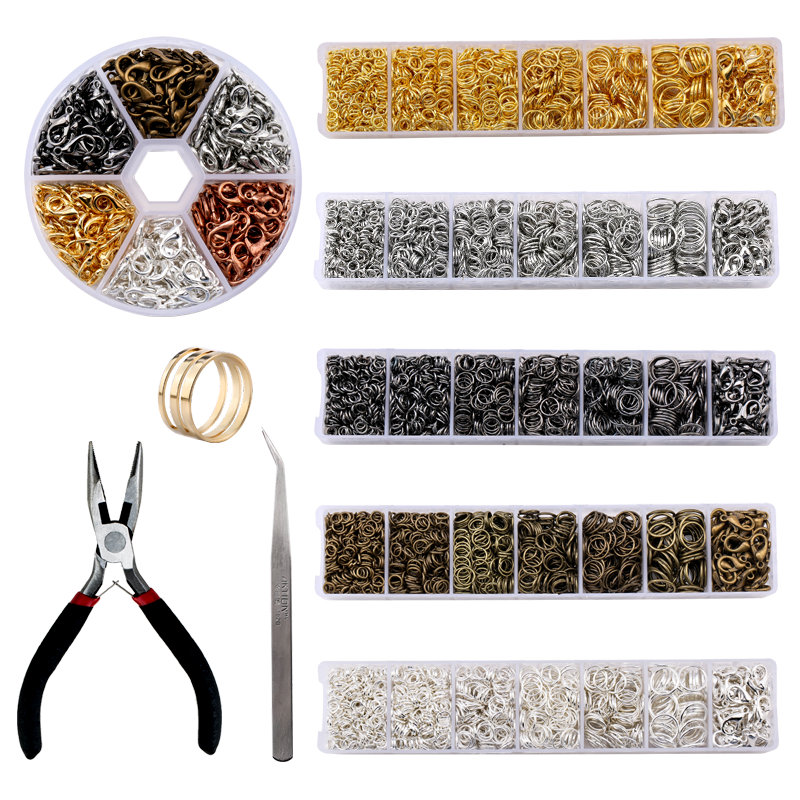 A Set Jewelry Findings Tool Set Open Jump Rings,Jewelry Pliers, Lobster Clasps Hooks, Jewelry Tweezers Jewelry Making Supplies