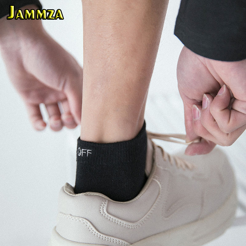 Men Cotton Ankle Socks Spring Summer Short Crew Sock Embroidery Letter Deisgn Black White Breathable Personalized Trend Fashion