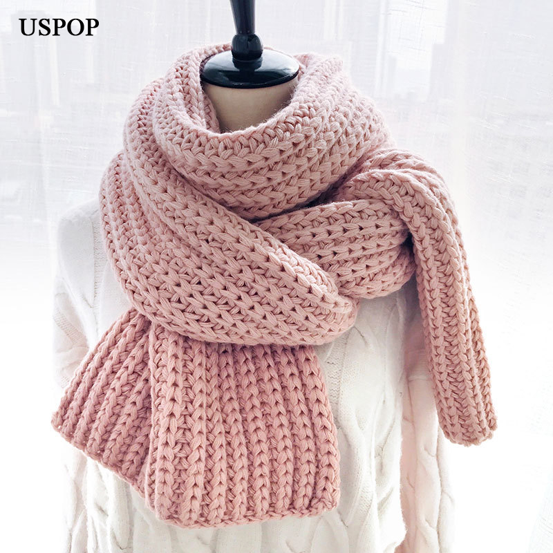 USPOP 2019 Winter Scarf Large Long Women Scarves Female Warm Knitted Scarf Casual Simple Solid Color Shawl