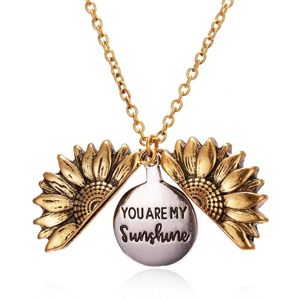 2020 Antique Gold Silver Open Locket Necklace Engraved You Are My Sunshine Sunflower Pendant Necklace Unique Party Jewelry Gift