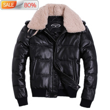 Winter Jacket Genuine Cowhide Leather Jackets Duck Down Coat for Men Plus Size 2020 Doudoune HommeHA-A05 B21143 cheap REGULAR KJ1143 Casual zipper Full Pockets Zippers Thick (Winter) Lace Polyester White duck down NONE 300g Solid Short