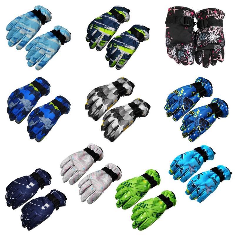 Ski-Gloves Mitten Snowboard Winter Waterproof Kids Dropship New Print Fashion