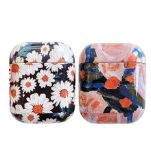 цена на Hard Plastic Protective Cover Beautiful Flower Pattern Storage Case for AirPods