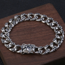S925 sterling silver jewelry personality hip hop wind wrist chain men's Thai silver old skull bracelet 925 sterling silver bracelet bangle retro thai silver male personality silver chain magic circle evil eye bracelet punk biker