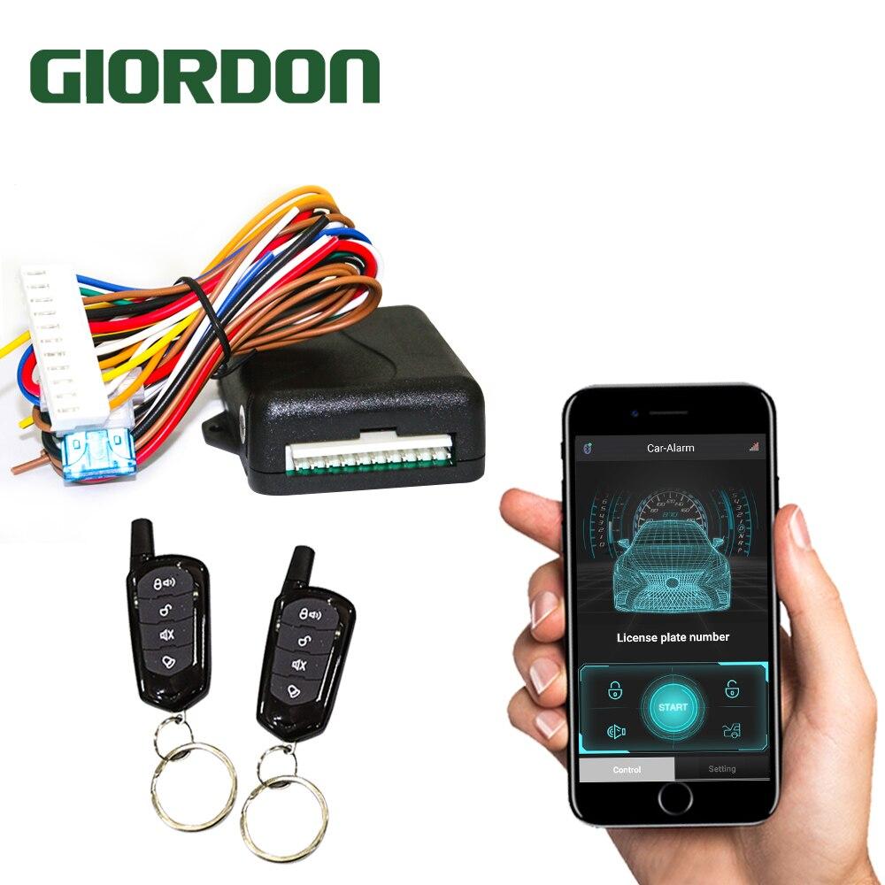 GIORDON אוניברסלי רכב מערכות אוטומטית מרחוק מרכזית ערכת דלת מנעול Keyless אפליקציה עם מרחוק Contr כניסת מערכת נעילה מרכזית