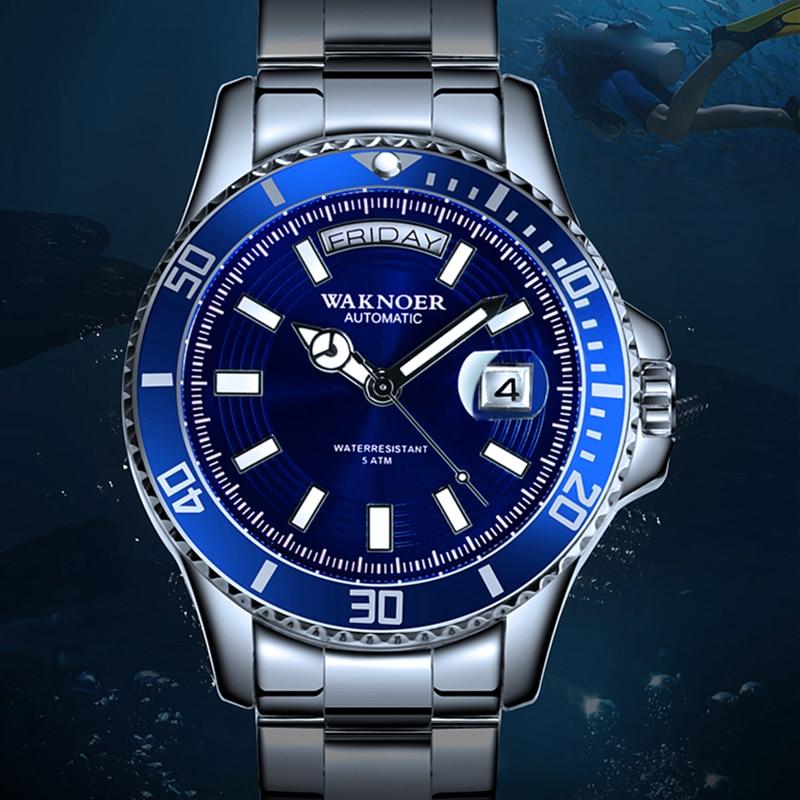 Drop Shipping WAKNOER Top Brand Men Mechanical Watch Automatic 5Bar Fashion Luxury Stainless Steel Men's Watch Relogio Masculino