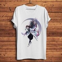 Pogromca demonów Kisatsutai Kochou Shinobu śmieszne streetwear anime homme biała koszulka z krótkim rękawem męska koszulka na co dzień unisex manga t shirt