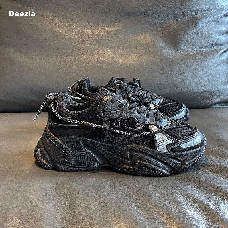 Ulzzang moda chunky tênis feminino preto plataforma sapatos casuais designers malha respirável mulher vulcanizada sapatos tamanho grande 44