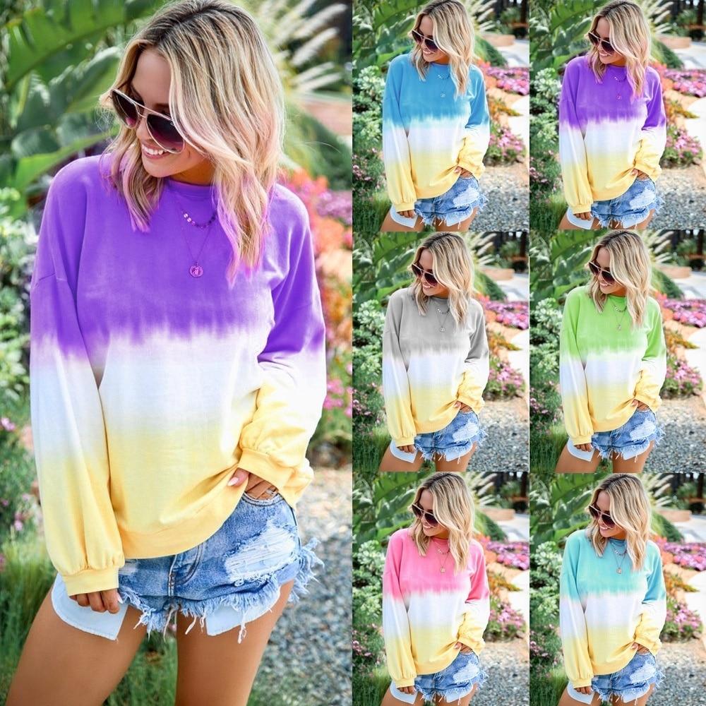Tie Dye Sweatshirts Hoodies Women Rainbow Sweatshirt Casual Loose Tops Gradient Color Pullover Autumn Long Sleeve Female 5XL