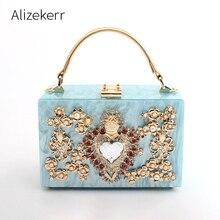 Luksusowe okno akrylowe torebki wieczorowe damskie perły diamenty w kształcie serca wzór z kamieniem torebki torebka damska torba na ramię kolacja