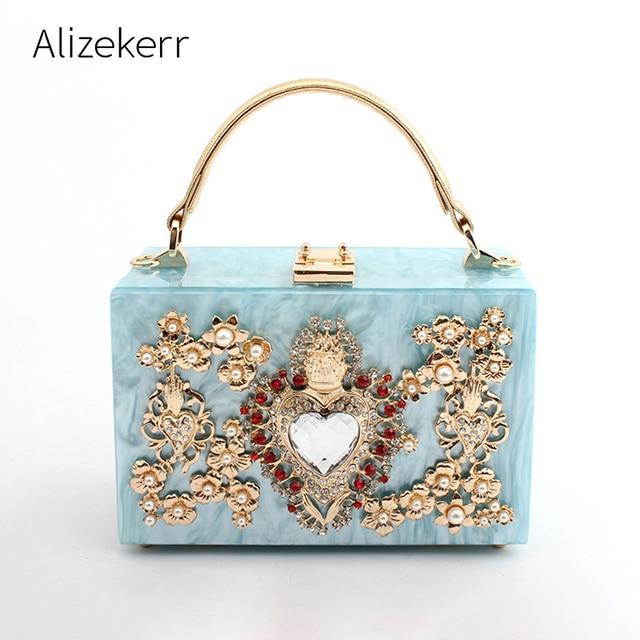 Luxury Acrylic Box Evening Clutch Bags Women Pearl Diamonds Heart shaped Stone Pattern Purses Handbag Ladies Shoulder Bag Dinner