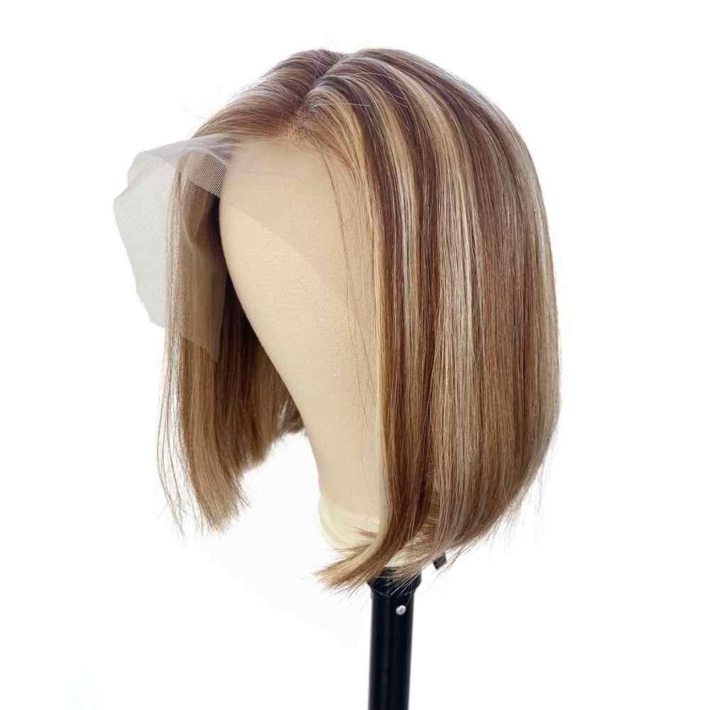 Loviness Highlight Kurze bob Balayage Remy Reines Haar U Teil Blonde Honig Braun Günstige Ombre Spitze Front Menschliches Haar Perücke für Frauen