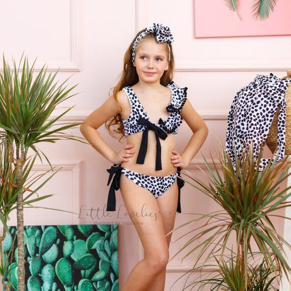 Europe And America Girls Fashion-Cool Cute Leopord Pattern Bathing Suit + Bang Dai Ku Outside Shawl + Ball Three-piece Set