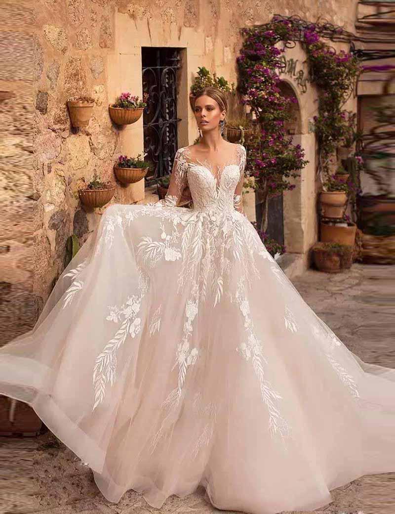 2020 New Wedding Dresses Lace Appliques Long Sleeves Bridal Wedding Gowns Buttons Robes De Mariée Floor Length Vestido De Noiva