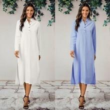 Ankle-Length-Dress Dresses Maxi Long-Shirt Casaul Cotton Women's Kaftan Oversized Oversized