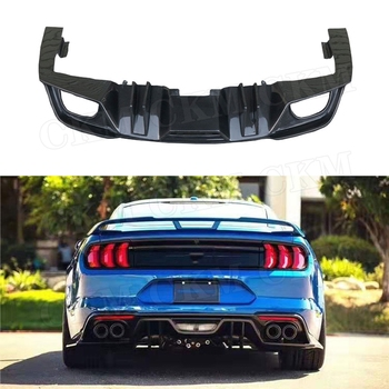 Carbon Fiber Rear Bumper Lip Diffuser Spoiler for Ford Mustang 2015 2016 2017 2018 2019 Fins Shark Style 4 Outlet Diffuser