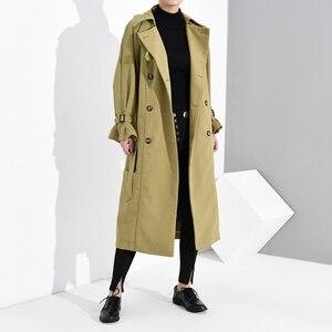 Image 4 - LANMREM נשים להנמיך צווארון פנאי מלא שרוול טלאים רחב מעיל גשם להאריך ימים יותר כפול פנים Loose 2020 החדש 19F a68