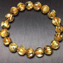 Certificado 10,5mm Oro Natural rutilado pulsera de titanio Brasil grandes abalorios redondos de piedra estiramiento mujeres hombres joyería de cristal AAAAA