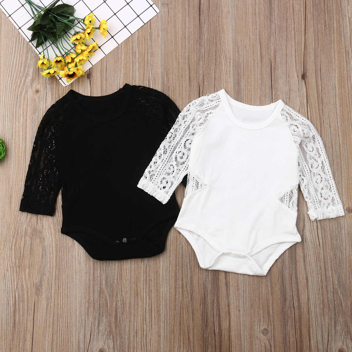 0-18M Newborn Baby Girl Long Sleeve Lace Romper Solid Infant Baby Jumpsuit Playsuit Baby Girl Costumes  Autumn New