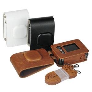 Image 5 - Für Fujifilm Instax Mini Liplay Hybird Instant Film Kamera Tasche Fall PU Leder Retro Schwarz Braun Weiß Tragen Abdeckung Schulter taschen