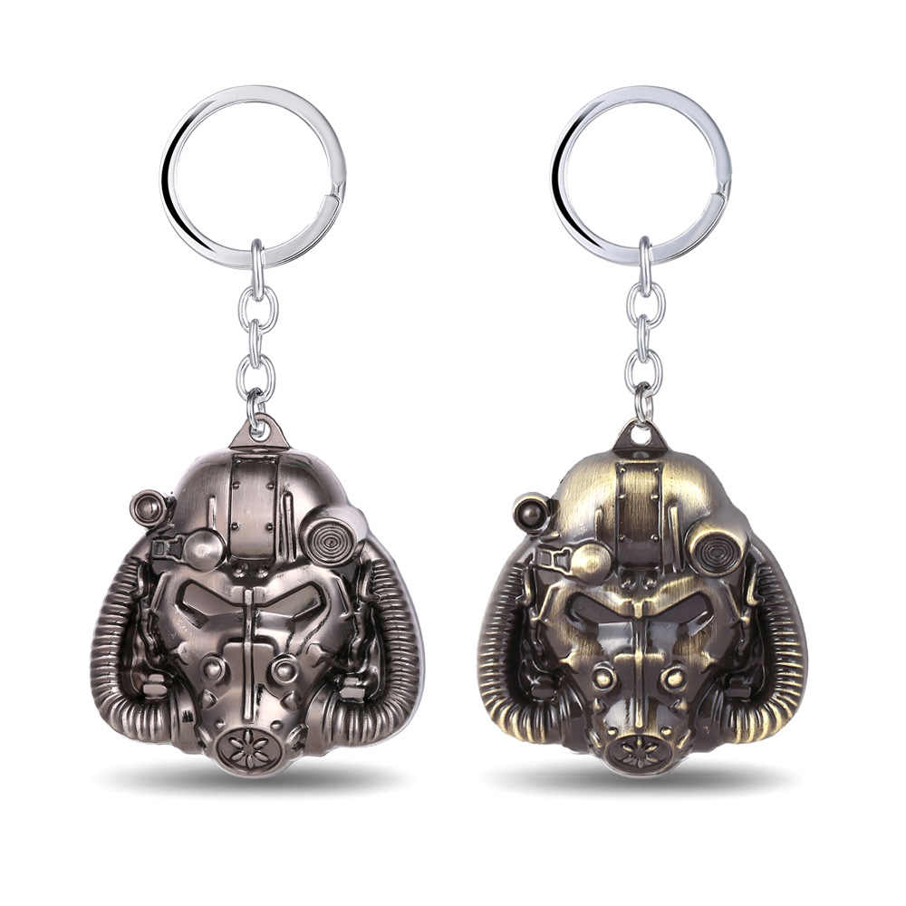 Drop Shipping VINTAGE แก๊สพวงกุญแจสีบรอนซ์เงินเกม Fallout Vault ผู้หญิง Steampunk Man Key CHAIN จี้