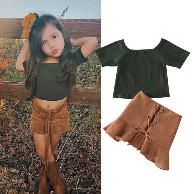 1-6T Toddler Kid Baby Girl Clothes Set Short Sleeve Tops T-Shirt Skirt Dress Set Elegant Fashion Streetwear Cute 2PCS Outfit