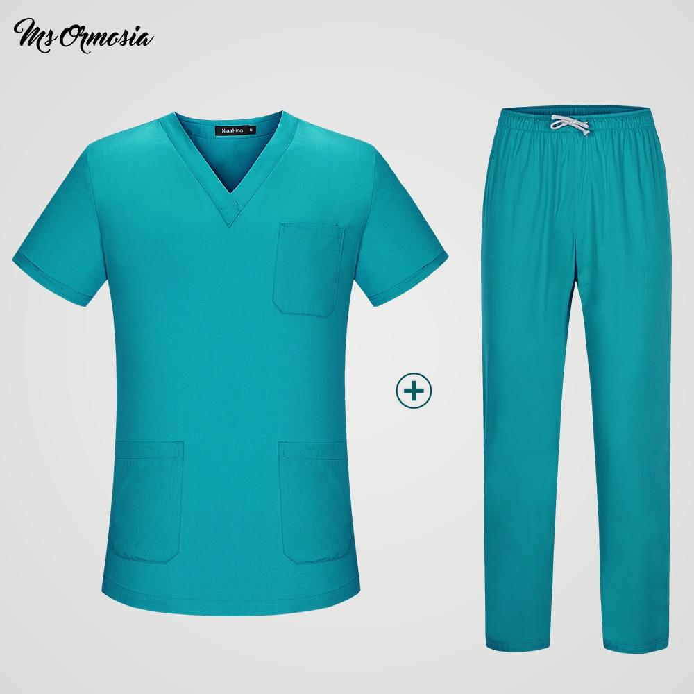 Nurse Uniform Blue Medical Scrubs Set Doctor Suit For Women Hospital Clinic Cloths Surgical Dress 100% Cotton Tops And Pants
