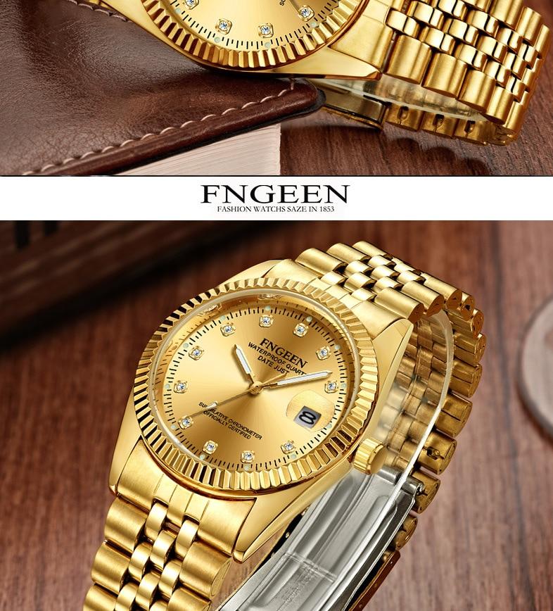 ouro moda estudantes relógio masculino