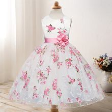 New Summer Princess Dress  Fashion O-neck Girls Dress Cute Mesh Bow-knot Flower Print Sleeveless Kids Dresses for Girls cute sleeveless scoop neck striped flower embellished dress for girls