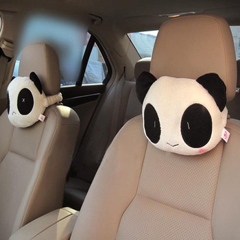 2Pcs Car Neck Pillow Cartoon Cute Car Neck Panda Pillow Headrest Neck Rest Support Cushion baby pillow ligth weight comfortable multi color cartoon u shaped neck travel pillow automatic neck support head rest cushion