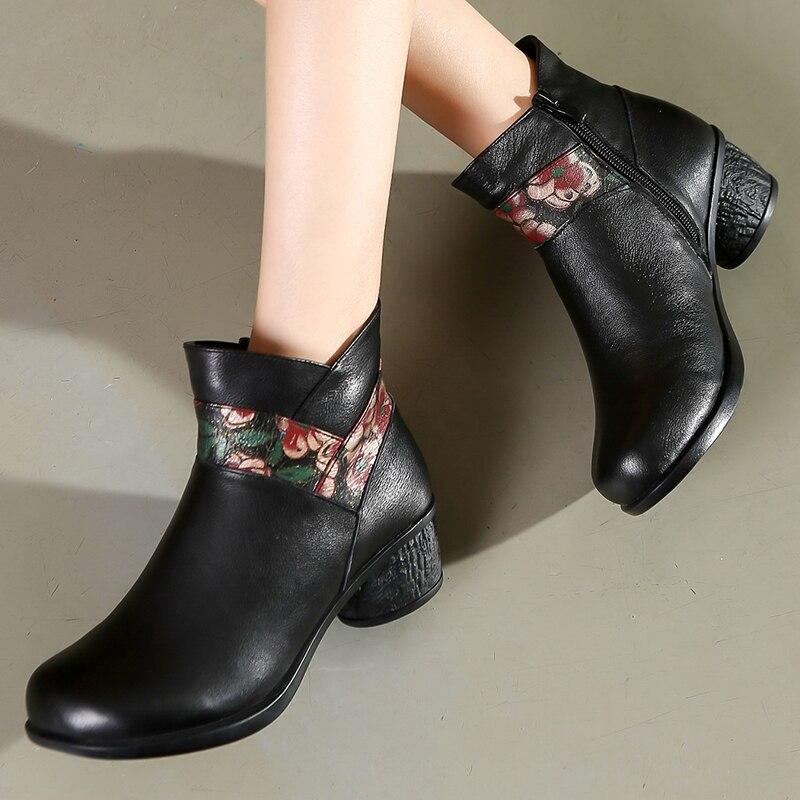Botas de couro feminino botas de inverno sapatos quentes bordados sapatos retro salto baixo martin botas de couro artesanal botas de tornozelo marrom 2019