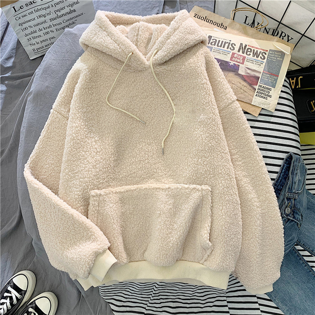 New Autumn Winter Thick Warm Coat Velvet Cashmere Women Hoody Sweatshirt Solid Blue Pullover Casual Tops Lady Loose Long Sleeve 2