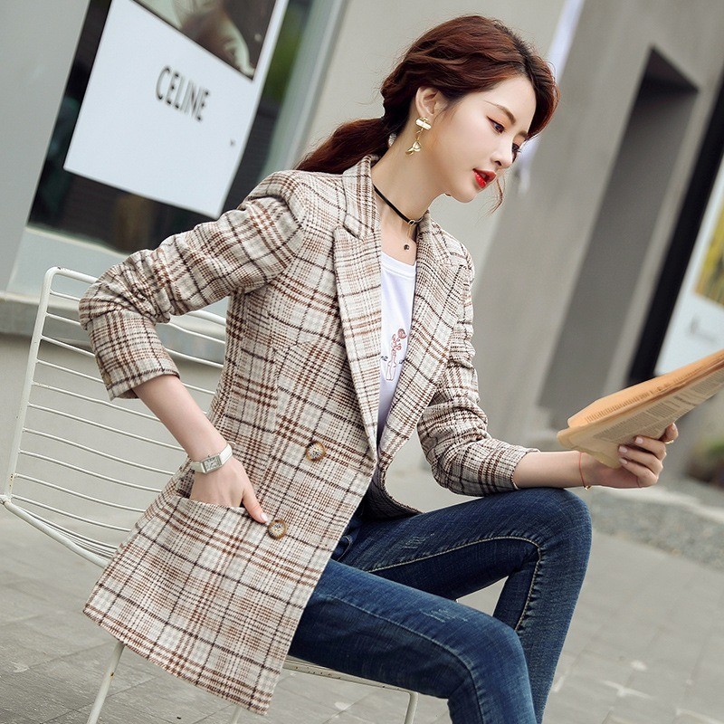 New Style for Autumn and Winter Plaid Suit Jacket Women's Mid-Length Stylish British-Style Casual Retro Graceful Top Blazer