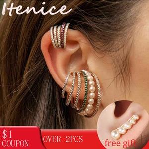 Itenice Multi-turn Pearl Rhinestone Ear Cuff Bohemia CZ Wide Stackable Earcuffs Crystal Ear Climber Earrings For Women Wedding(China)