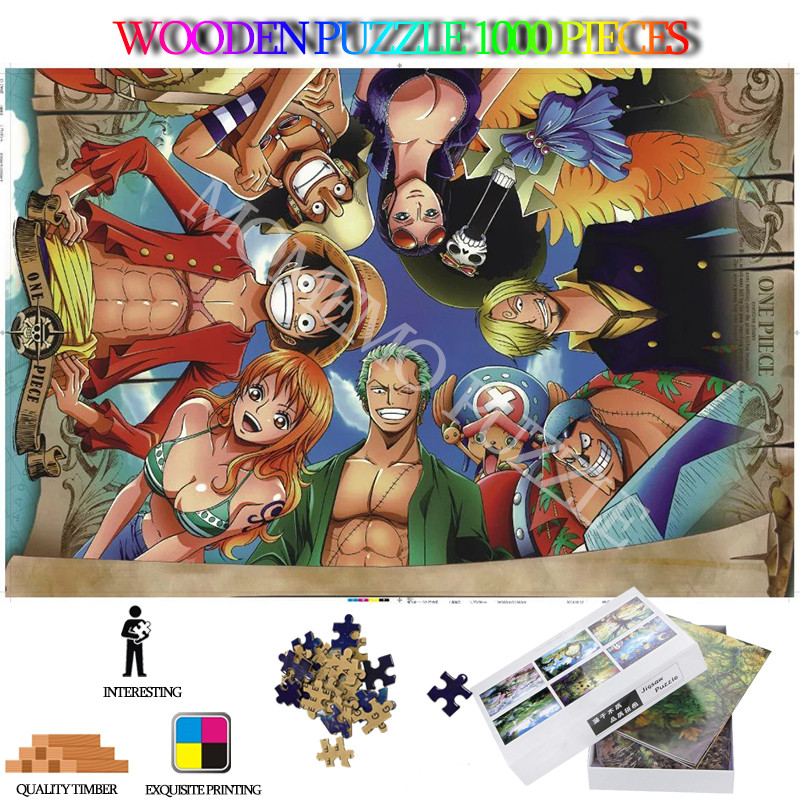 ONE PIECE Adult Wooden Jigsaw Puzzle 1000 Pieces High Definition Cartoon Anime Jigsaw Puzzles Entertainment Toys Kids Nice Gifts