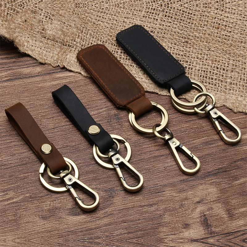 New Fashion Genuine Leather Women Small Gift Retro Handmade Purse Keychain Car Key Ring Holder Wallet Arts And Crafts For Men