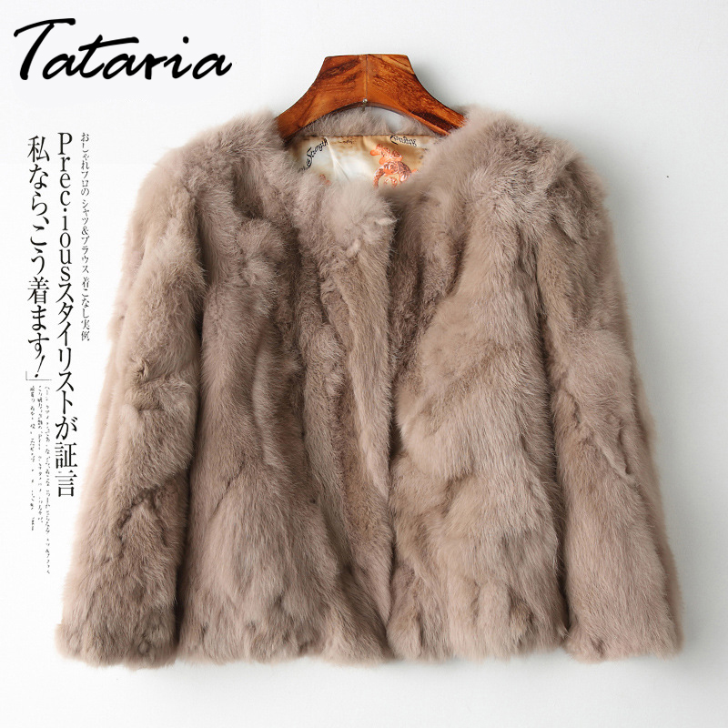 Jacket Overcoat Plush-Coats Long-Sleeve Warm Real-Rabbit-Fur Women Short Female for Tataria title=