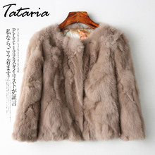 Tataria Real Rabbit Fur Jacket for Women Long Sleeve Plus Size Overcoat Women's Short Real Rabbit Coat Female Warm Plush Coats(China)