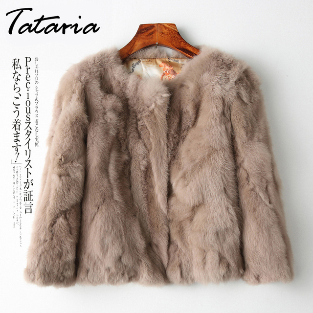 Tataria Real Rabbit Fur Jacket for Women Long Sleeve Plus Size Overcoat Womens Short Real Rabbit Coat Female Warm Plush Coats