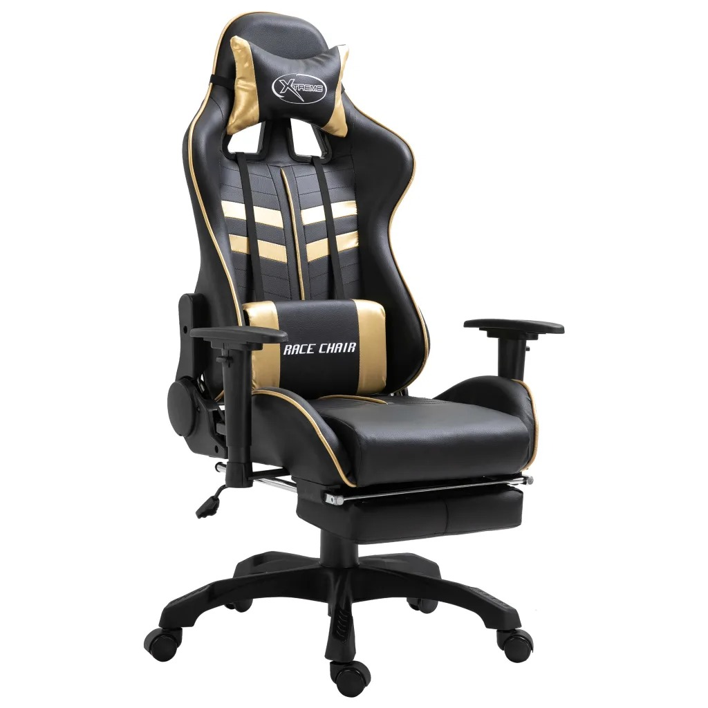 VidaXL Game Chair With Footrest Golden PU 20202