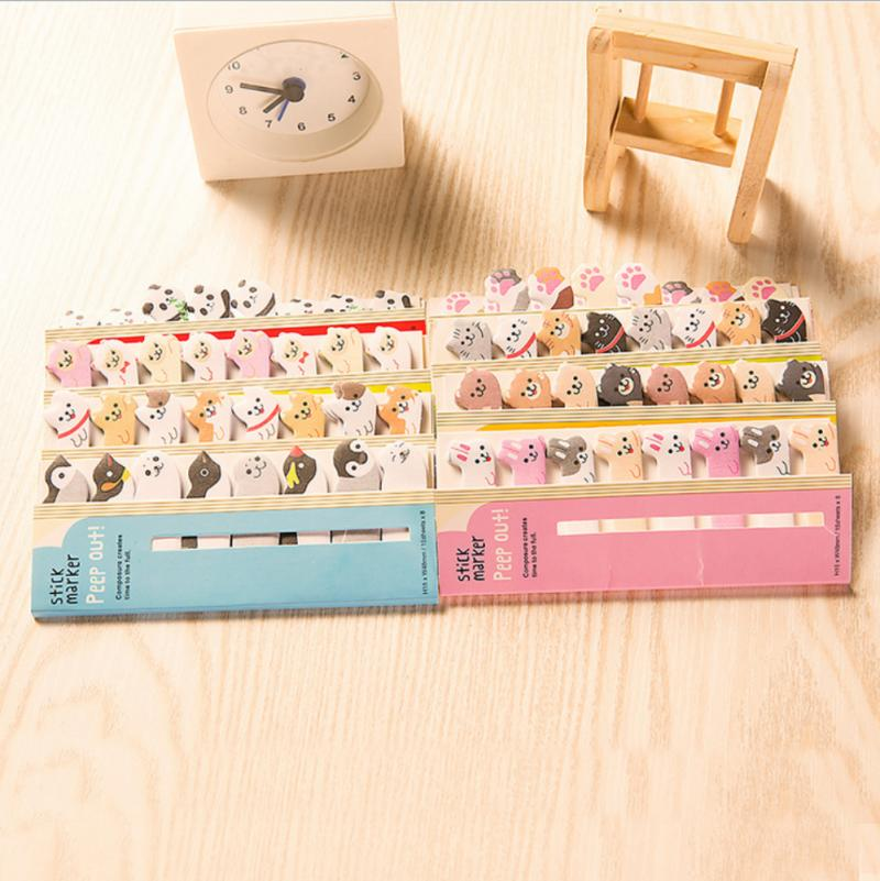 1 Set <font><b>Cute</b></font> Panda Cat Animals Page Marker Mini <font><b>Sticky</b></font> Notes ookmarks Memo <font><b>Tab</b></font> Sticker School Stationery Office Student Supplies image
