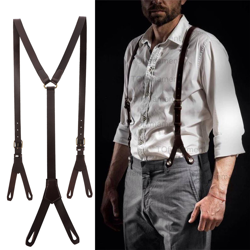 1.7cm High Quality Real Cowhide Split Leather Strap Women Men Unisex 6 Button Suspenders Cowboy Gril Wear