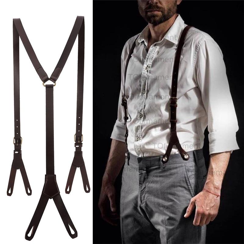 1.7cm High Quality Real Cowhide Split Leather Strap Women Men Unisex 6 Button Suspenders Cowboy Gril Wear